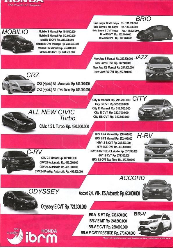 Pricelist Honda 2016 Update Mei